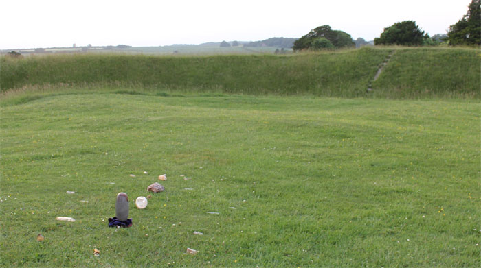 The layout at Knowlton Henge. The anchor stone for this grid was a large piece of ironstone in the ruined church behind it.