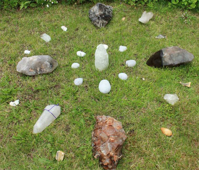 """The """"super moon"""" grid laid out in the author's garden, ready for adjustment."""