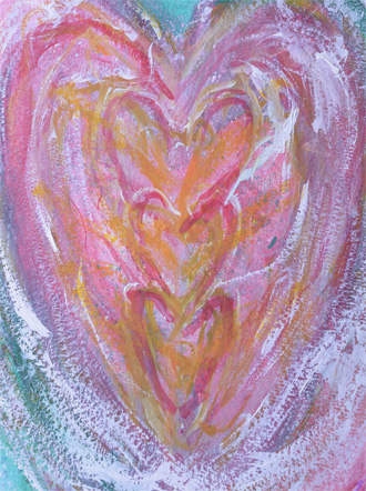 The deva of Rose Quartz painted by the author on an Earth-healing workshop.